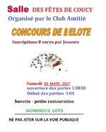 Concours de belote samedi 18 mars 2017 à 08300 Coucy – Ardennes