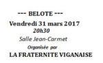 Concours de belote vendredi 31 mars 2017  à le Vigan 46300