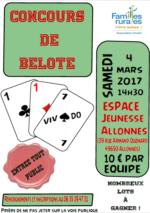 Concours de Belote le 4 Mars 2017 à Allonnes 49650