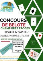 Concours de belote le 12 mars 2017 à Champ Pres Froges – Isère