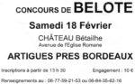 Concours de belote 18 fevrier 2017 à Artigues Près Bordeaux – Gironde