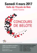 concours de belote le 4 mars 2017 à 44680 Sainte-Pazanne