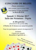concours de belote le samedi 11 février 2017 à 21h à 47300 Pujols