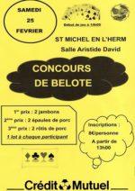 concours de belote le 25 février 2017 à 85580 st Michel en l'herm