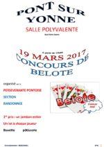 Concours de belote le 19 mars 2017 à Pont sur Yonne 89140