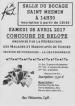Concours de belote samedi 8 avril 2017 à 14h30 à 85700 Saint-Mesmin