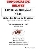 Concours de belote le 25 mars 2017 à Brussieu 69690