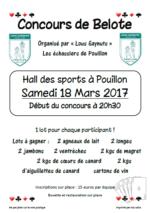 Concours de belote samedi 18 mars 2017 à Pouillon – Landes
