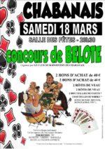 concours de belote le 18 mars 2017 à 16150 Chabanais