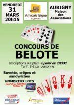 Concours de belote vendredi 31 mars 2017 à Aubigny