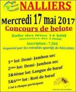 Concours de belote le 17 mai 2017 à Nalliers – Vendée