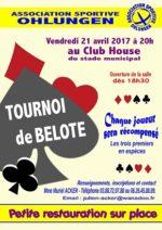 Tournoi de belote 21 avril 2017 à 67590 Ohlungen – Bas Rhin