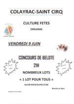 Concours de belote le 9 juin 2017 à colayrac st cirq