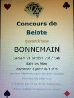 Concours de belote le 21 octobre 2017 à 35270 Bonnemain