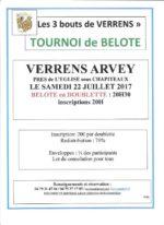 concours de belote les 22 et 23 juillet 2017 à VERRENS ARVEY