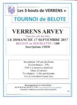 concours de belote le 17 septembre 2017 à VERRNS ARVEY