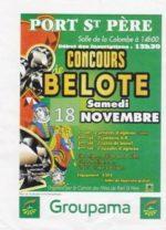 Concours belote le 18 Novembre 2017 à Port St Père