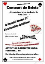 Concours de belote le 05 novembre 2017 à Petit-Cœur – 73