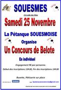 Concours de Belote le 25 Novembre 2017 à 41300 Souesmes