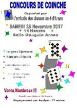 Concours de coinche le 25 Novembre 2017 à 14h Arnas