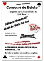 Concours de belote le 05 novembre 2017 à Petit-Coeur
