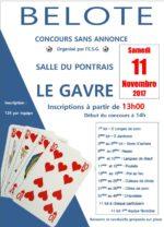 Concours de belote samedi 11 novembre 2017 à Gavre – 44