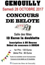 Concours belote 28 Octobre 2017 à 71460 Genouilly